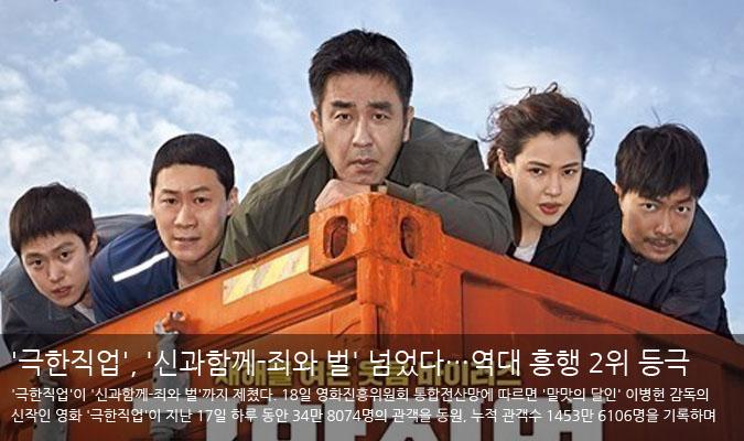 [팝업무비]'극한직업', '신과함께-죄와 벌' 넘었다…역대 흥행 2위 등극