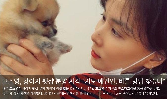 """[팝업★]고소영, 강아지 펫샵 분양 지적에..""""저도 애견인, 바른 방법 찾겠다"""" 해명"""
