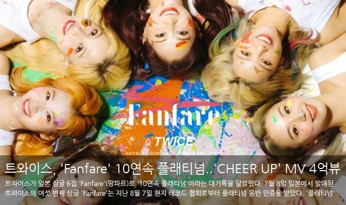 트와이스, 일본 싱글 'Fanfare'로 10연속 플래티넘..'CHEER UP' MV 4억뷰 돌파(공식)