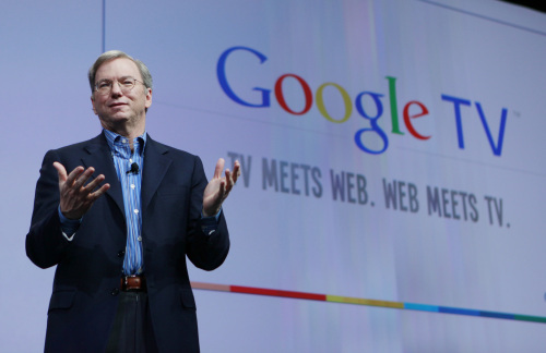 Google CEO Eric Schmidt talks about Google TV at the Google conference in San Francisco, May 20.(AP-Yonhap News)