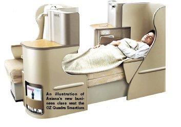 An illustration of Asiana's new business class seat the OZ Quadra Smartium