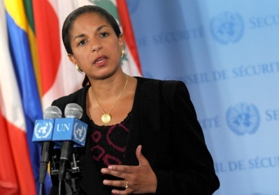 In this photo released by China's Xinhua News Agency, U.S. Ambassador to U.N. Susan Rice speaks to the media at the U.N. headquarters on Thursday, July 8. (AP-Yonhap)