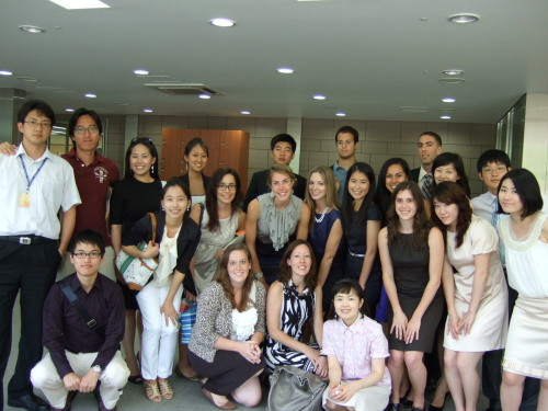 Participants of the South Korean National Assembly-U.S. Congress Youth Exchange Project2010 pose in the lobby of the Korean parliament in Seoul.