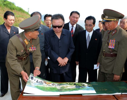 North Korean leader Kim Jong-il visits a construction site in North Hamgyeong Province in this undated photo released by the North's state media early this month.