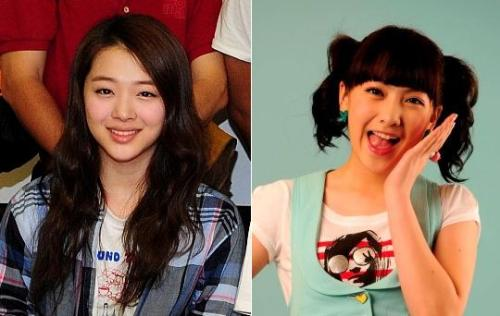 Singer Sulli (left) of girl group f(x) and Kang Gee-young of Kara (Park Hyun-koo/The Korea Herald)