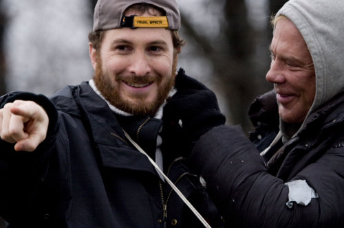 "Darren Aronofsky with actor Mickey Rourke on the set of ""The Wrestler."""