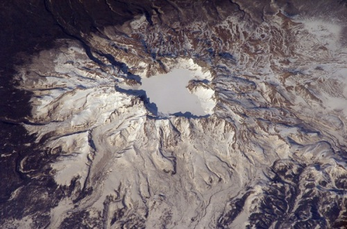 The satellite photo of Mt. Baekdu released by NASA