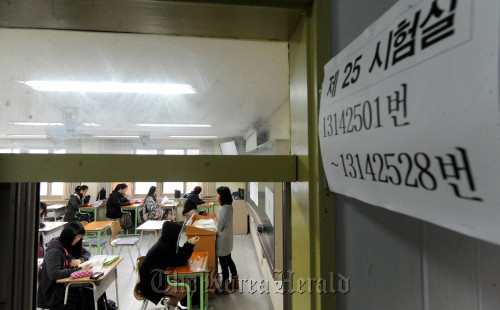 Students taking the 2011 college entrance exam at Yeouido high school in Seoul, Thursday. (Ahn Hoon/The Korea Herald)