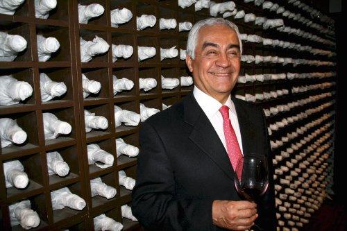 Argentina Ambassador Carlos Alberto Arganaraz with a glass of vino in the cellar of Buenos Ares restaurant (Yoav Cerralbo/The Korea Herald)