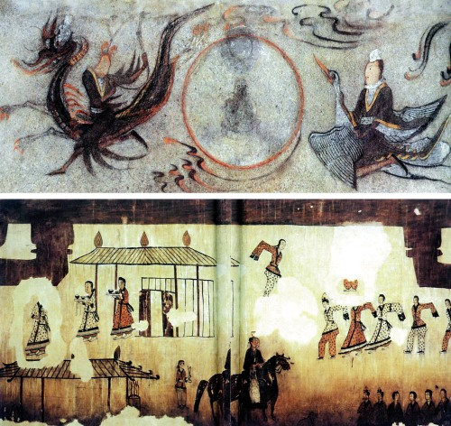 (Top) Mural of celestial maiden riding a crane, Ohoebun Tomb No. 4, from the 6th century.(Bottom) Dance scene from the Tomb of the Dancers, from late 4th to early 6th century.