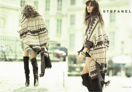 A model wears Nordic patterned capes. (Stefanel)