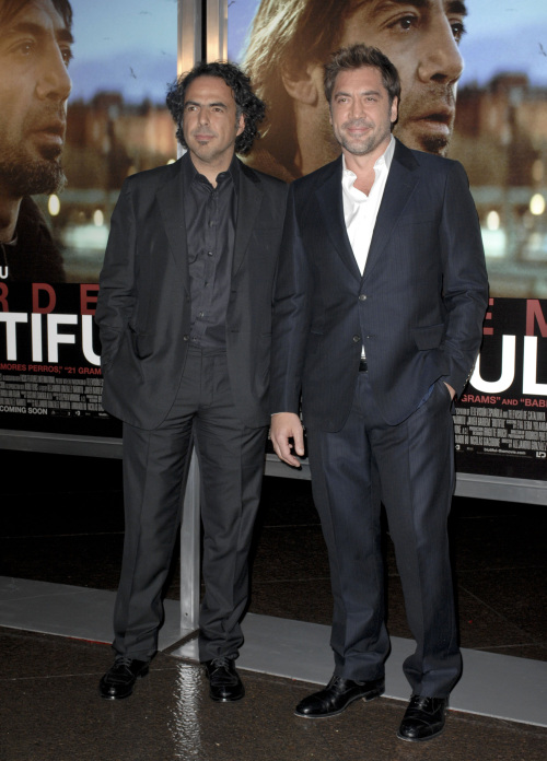 "Alejandro Gonzalez Inarritu, left, and Javier Bardem arrive for the premiere of ""Biutiful"" at the DGA Theater in Los Angeles on Dec. 14. (Apega/Abaca Press/MCT)"