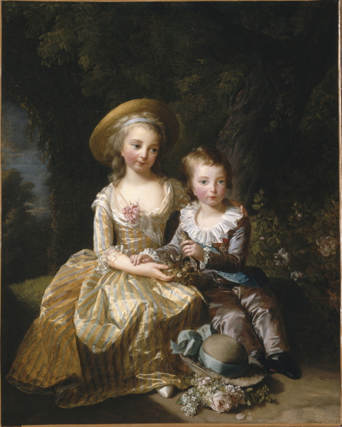 """""""Madame Royale and her brother crown prince Louis-Joseph-Xavier-François"""" by Elisabeth-Louise Vigee le Brun at the exhibition """"Special Exhibition of Chateau de Versailles,"""" which runs through Marchat Hangaram Art Museum at Seoul Arts Center in southern Seoul. (Photo RMN-GNC media, Seoul, 2010)"""