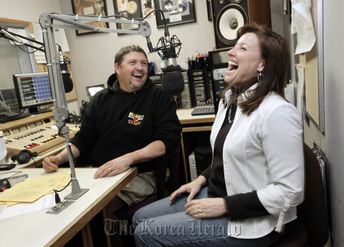 Gary Scott Thomas and Julie Stevens work the mics during their daily morning show at radio station KRTY in San Jose, California, on Dec. 9, 2010. The best of friends, they have done the Gary & Julie show for more than ten years. (San Jose Mercury News/MCT)