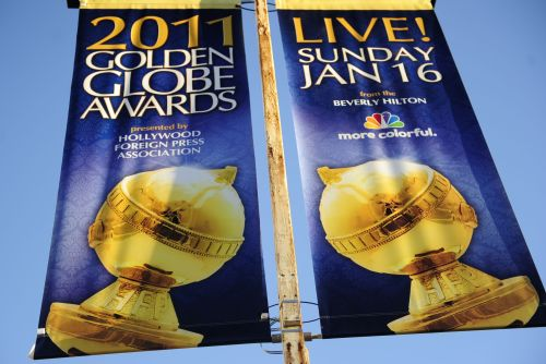 A sign announcing the upcoming Golden Globe Awards hangs along a street in Los Angeles on Jan. 12. (AFP-Yonhap News)