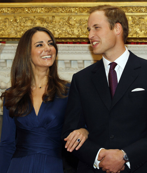 Britain's Prince William and his fiance Kate Middleton at St. James's Palace in London after announcing their engagement in November 2010. (AP-Yonhap News)