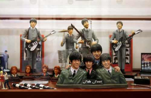 Figures depicting The Beatles are exhibited at The Cavern club and new Beatles Museum in Buenos Aires on Jan. 13. (AP-Yonhap News)
