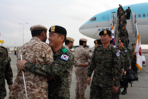 South Korea's Army held a send-off ceremony for some 130 elite combat troops set to be dispatched to the United Arab Emirates (UAE) to help train the Middle East nation's special forces. (Yonhap News)
