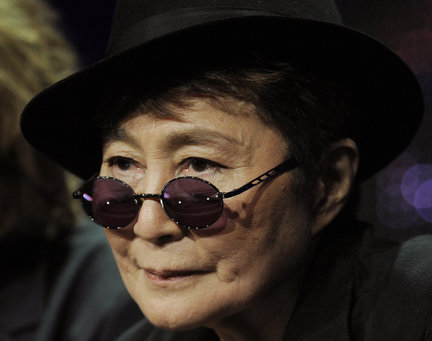 Yoko Ono is pictured during a panel discussion on the PBS special