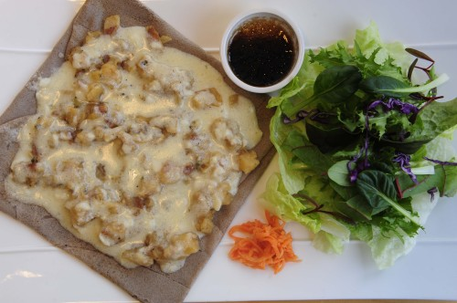 La Celtique's La Tartiflette, a marriage of Gruyere, potatoes, bacon and onions over a 100 percent buckwheat crepe, is a meal in itself (Park Hae-mook/The Korea Herald)