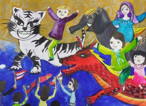 """ASEAN Animals"" by Lim Ji-young, grade 4 student from Pyeongtaek Jisan Elementary School, won the 2010 ASEAN-Korea Children's Drawing Contest grand prize. (ASEAN-Korea Center)"