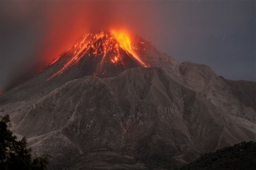 The Soufriere Hills volcano erupts in the Caribbean island of Montserrat, Saturday, January. 23, 2010. (AP)