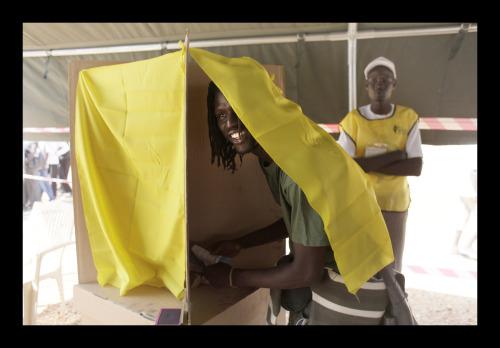Emmanuel Jal casts a ballot in the southern Sudan independence referendum on Jan. 9in Sudan (Benedicte Kurzen)