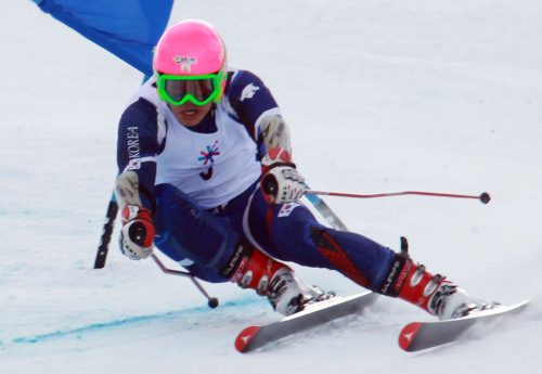 Alpine skier Jung Dong-hyun won the gold medal in men's super combined event. (Yonhap News)