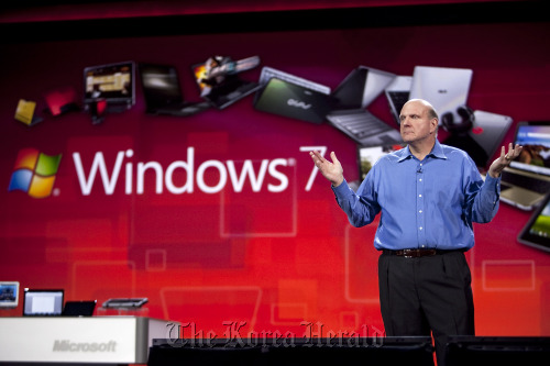 Steve Ballmer, chief executive officer of Microsoft Corp., speaks during the 2011 International Consumer Electronics Show in Las Vegas.  (Bloomberg)