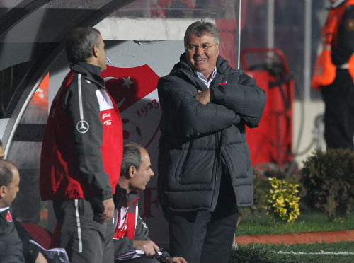Turkey manager Guus Hiddink reacts during the match against Korea. (Yonhap News)