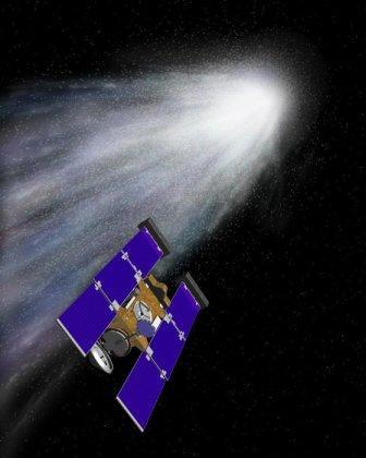 NASA representation of its spaceship Stardust on its way to bring the first samples of a comet back to Earth. Stardust will reach Comet Wild-2 in January, 2004, after a five-year voyage, and return its payload of comet dust two years later. (MCT)