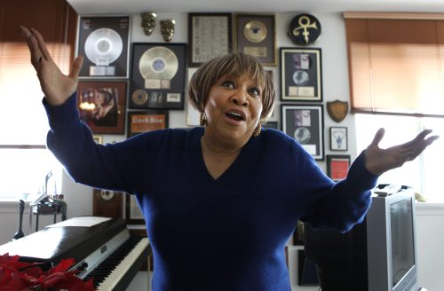 Grammy nominee Mavis Staples is shown at her home in Chicago. (AP-Yonhap News)