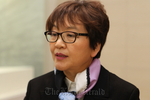 Kim Young-na, the newly appointed director-general of the National Museum of Korea, speaks at her inaugural ceremony on Feb. 9. (Yonhap News)