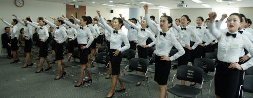 New employees are trained at the Seven Luck Casino Academy run by GKL in Seoul on Feb. 9. (GKL)