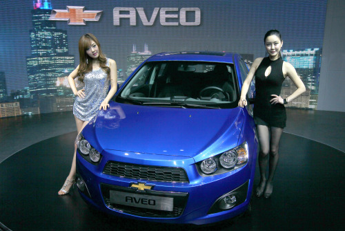 The all-new Chevrolet Aveo is unveiled in Seoul on Wednesday. (Yonhap News)