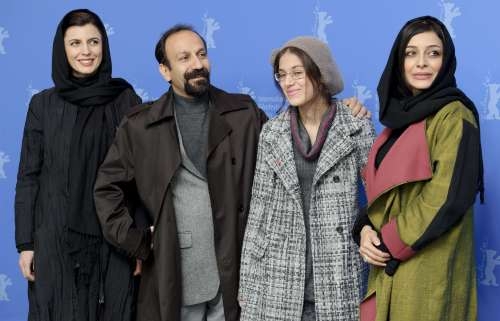 "From left: Iranian actress Leila Hatami, Director Asghar Farhadi, actresses Sarina Farhadi and Sareh Baya attend a photocall to promote the movie ""Nader and Simin, A Seperation"" at the International Film Festival Berlinale in Berlin on Tuesday. (AP-Yonhap News)"