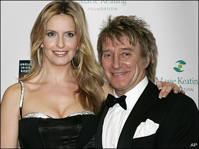 British singer Rod Stewart, right, and his wife Penny Lancaster (AP)