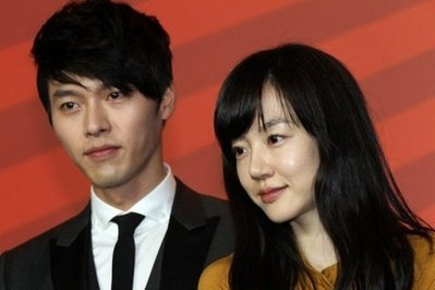Korean actor Bin Hyun and South Korean actress Soo-jung Lim arrive for a press conference for the film