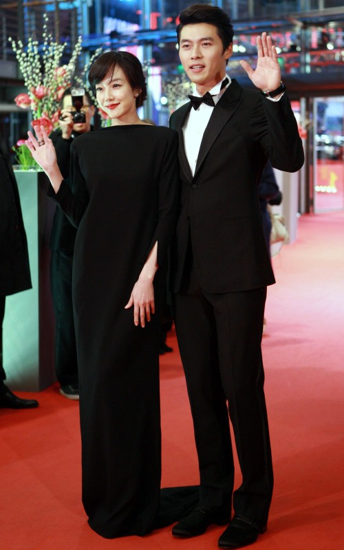 "South Korean actor Hyun Bin (right) and actress Lim Soo-jung of the film ""Come Rain, Come Shine"" pose for the global premiere of the film at the 61st Berlinale International Film Festival in Berlin on Thursday. (Xinhua-Yonhap News)"
