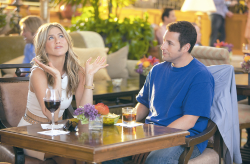 """Jennifer Aniston and Adam Sandler perform a scene in the Columbia Pictures' comedy """"Just Go with It.""""(Tracy Bennett/Columbia Pictures/MCT)"""