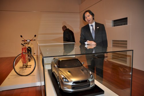 Japan Ambassador Masatoshi Muto with to a replica of the Nissan GT-R. (Yoav Cerralbo/The Korea Herald)
