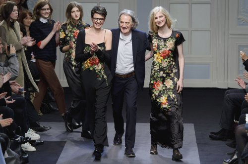 British designer Paul Smith at the Paul Smith fashion show, London Fashion Week in London, Monday. (AP-Yonhap News)