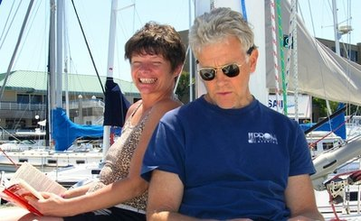 Phyllis Macay and Bob Riggle are seen on a yacht in Bodega Bay, Calif. (AP-Yonhap News)