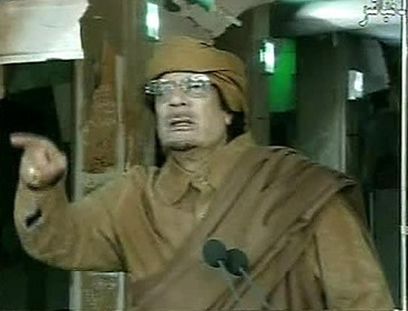Libyan leader Gadhafi makes a speech on Wednesday. (AP-Yonhap)