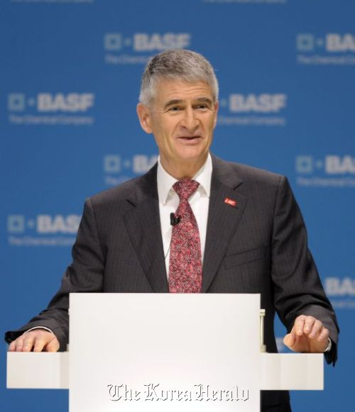 BASF chief executive Jurgen Hambrecht speaks during the firm's yearly press conference in Ludwigshafen, Germany on Thursday.(BASF)