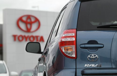 A Toyota RAV4 sits on the sales lot at a Toyota dealership on Thursday in Oakland, California. (AFP-Yonhap News)