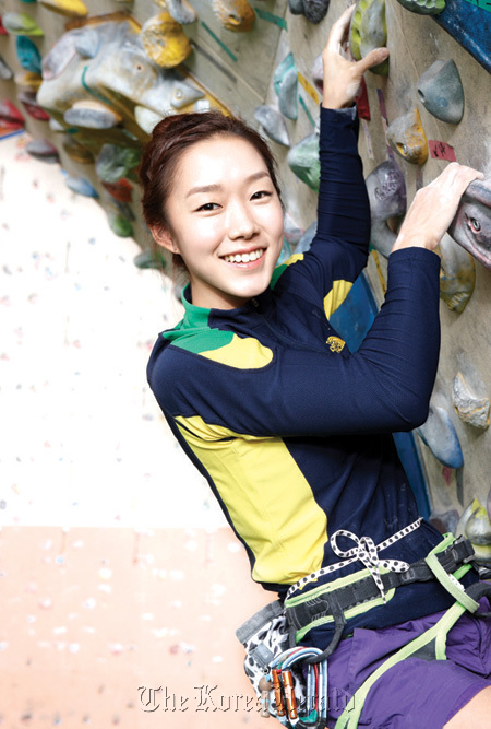 Kim Ja-in, an athlete for the North Face Climbing Team, poses for a photo during practice. (The North Face)