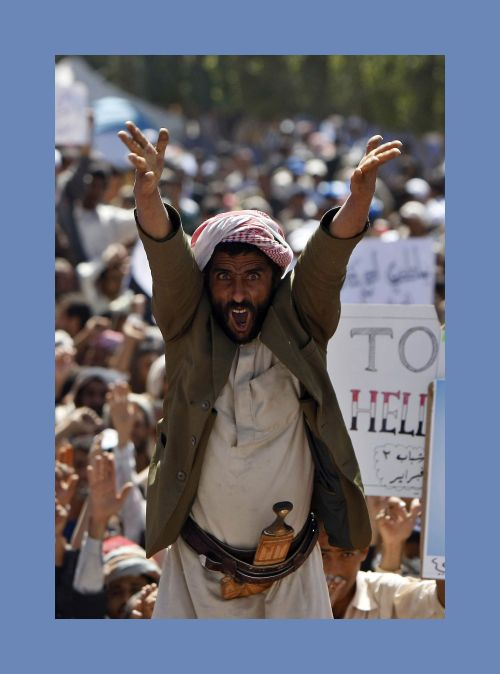 A Yemeni protester chants slogans calling for the ouster of President Ali Abdullah Saleh during a massive anti-regime rally in the capital Sanaa on Tuesday. (AFP-Yonhap News)