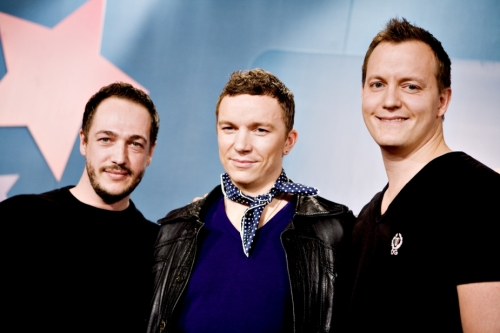 Denmark based DEEKAY Music — founders Martin Michael Larsson (left) and Lars Halvor Jensen (right) with 2009 Dansk Melodi Grand Prix winner Niels Brinck (center).      (Polfoto)