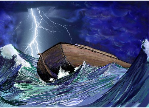 Hector Casanova color illustration of Noah's Ark being tossed in high waves during a lightening storm. (MCT)